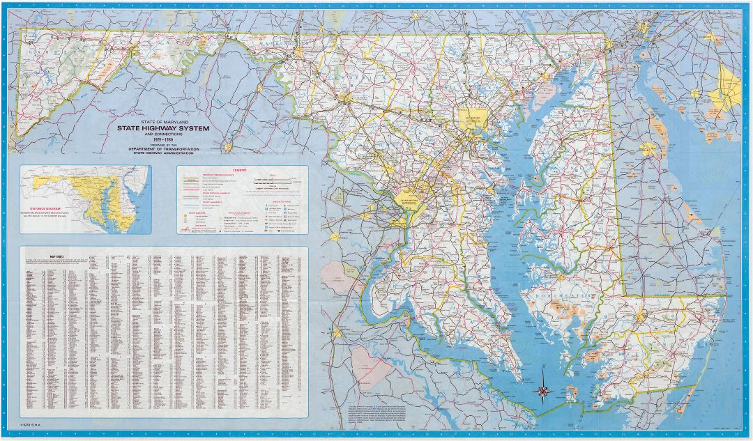 Large detailed highway system map of Maryland state - 1980