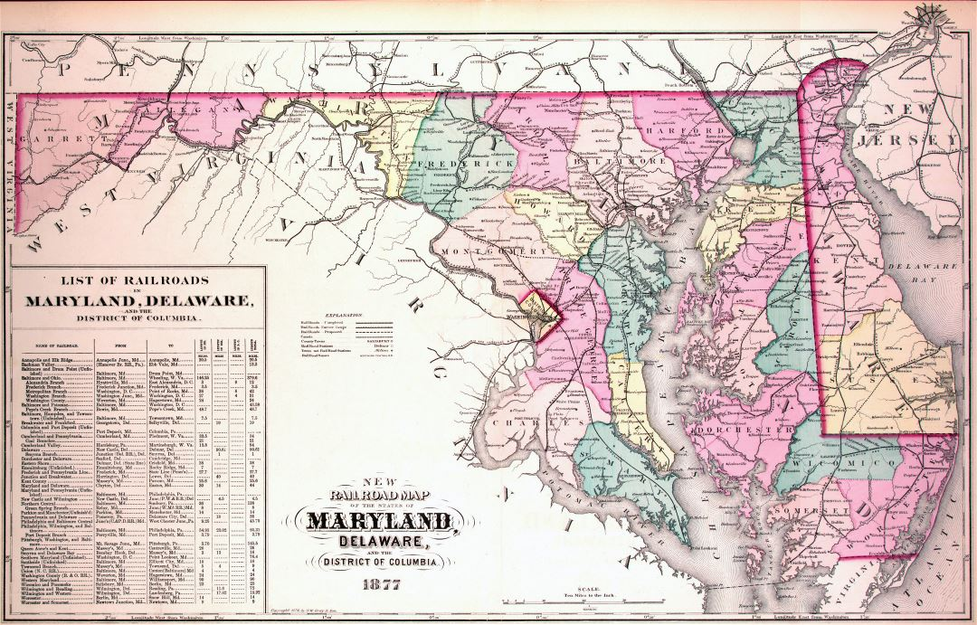 Large detailed old administrative map of Maryland and Delaware with railroads - 1877