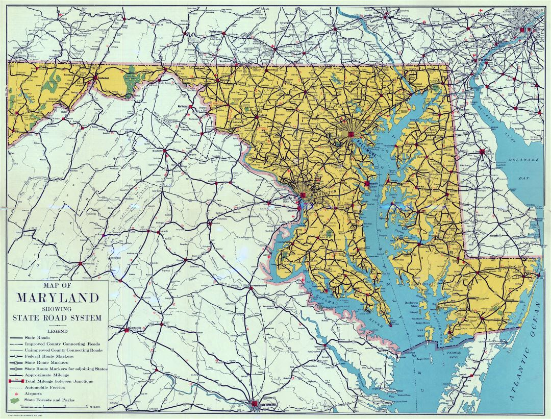 Large detailed old road sysytem map of Maryland state - 1937