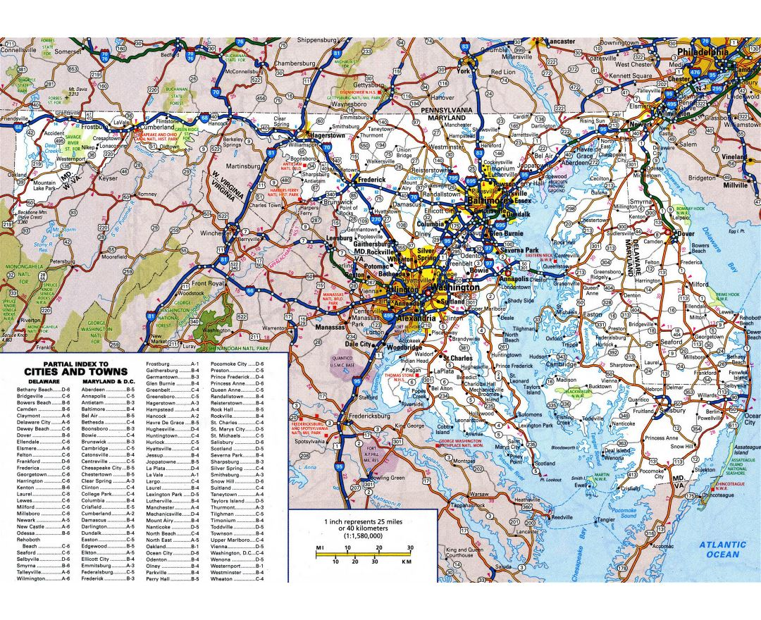 Large detailed roads and highways map of Maryland state with all cities and national parks