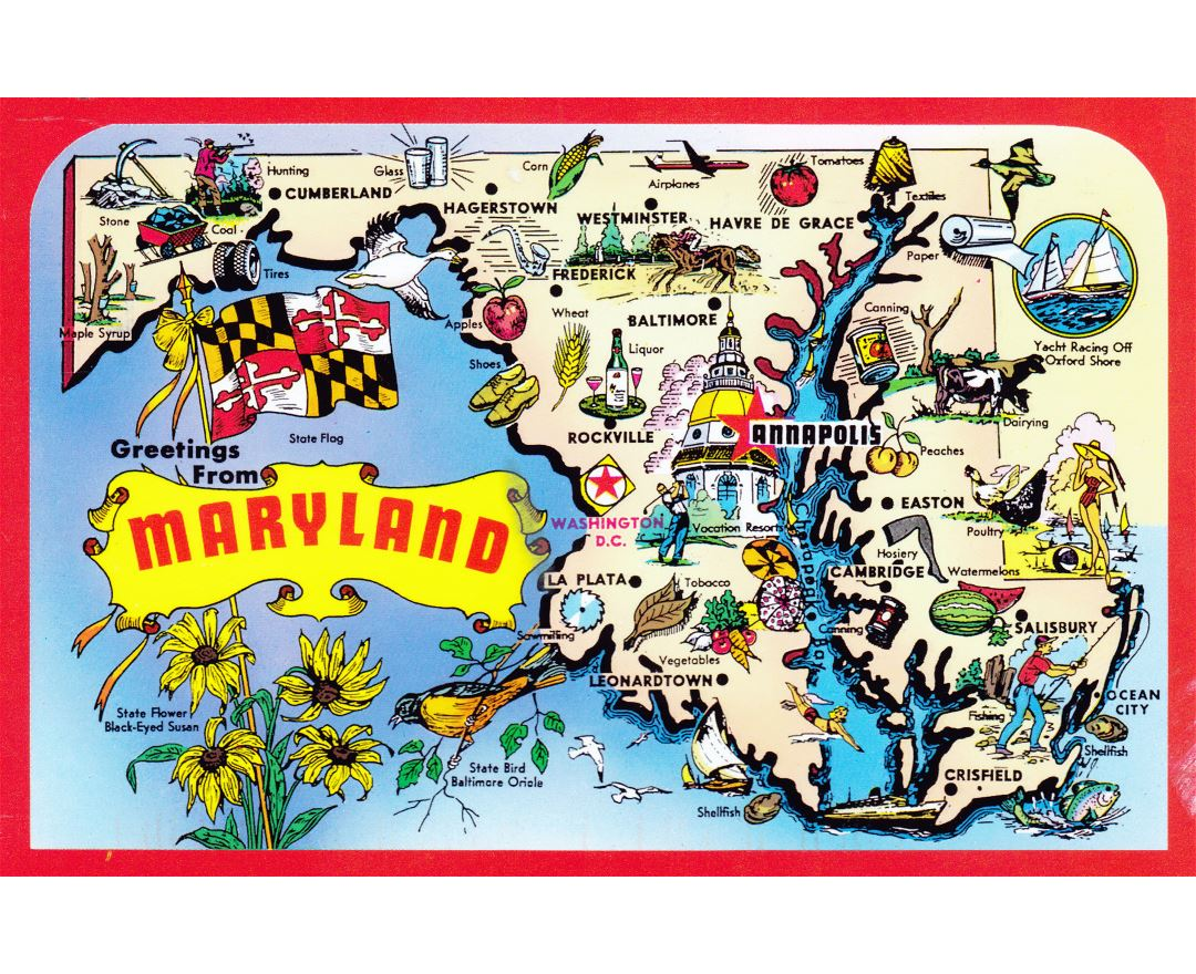 Large detailed tourist illustrated map of Maryland state