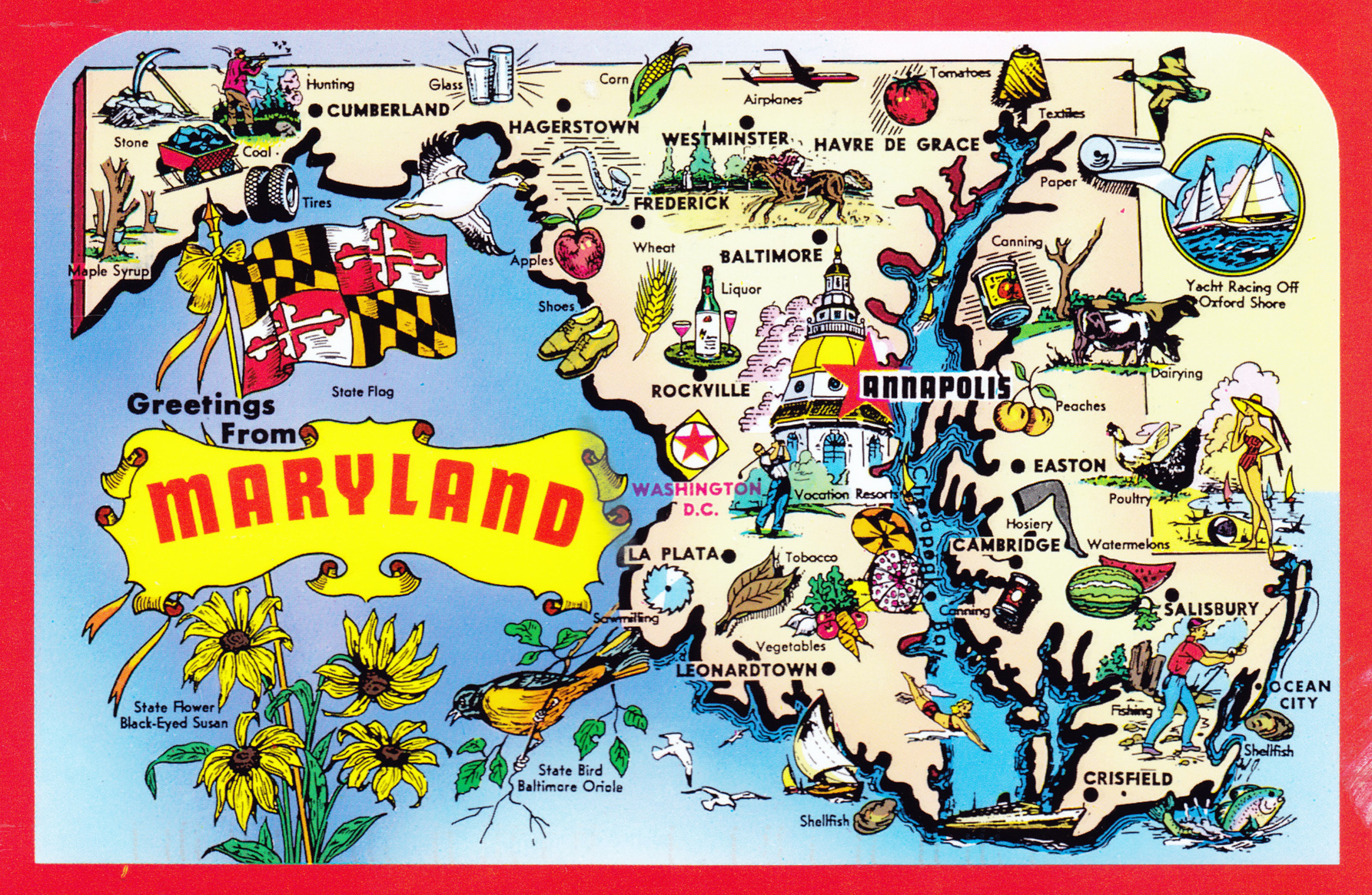 Large Detailed Tourist Illustrated Map Of Maryland State - Map of usa detailed