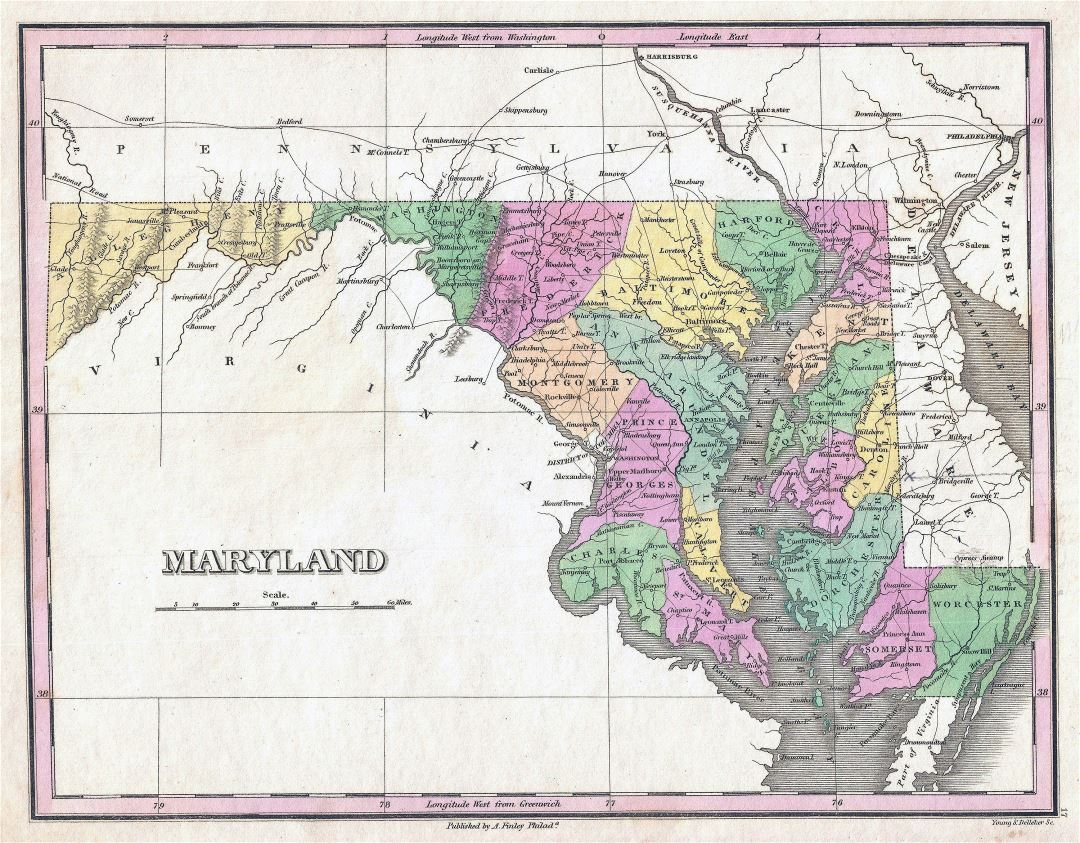 Large old administrative map of Maryland state with cities - 1827