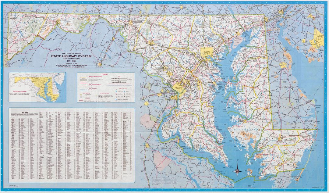 Large scale detailed highway system map of Maryland state - 1980