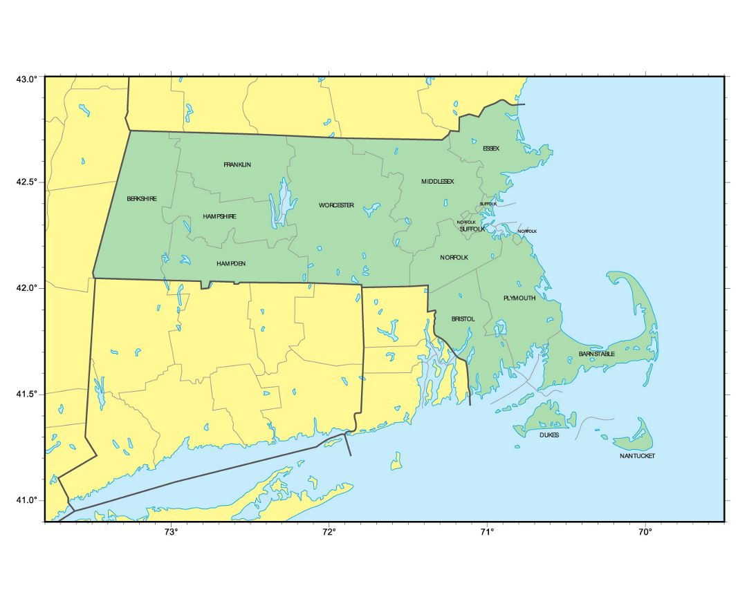 Detailed administrative map of Massachusetts state