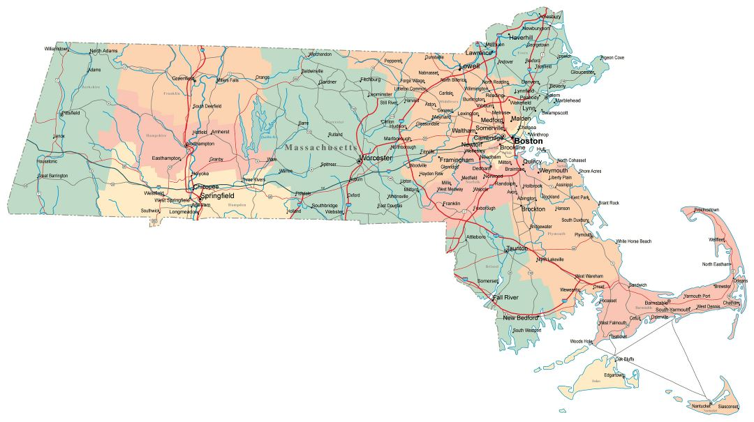 Large administrative map of Massachusetts state with roads, highways and cities