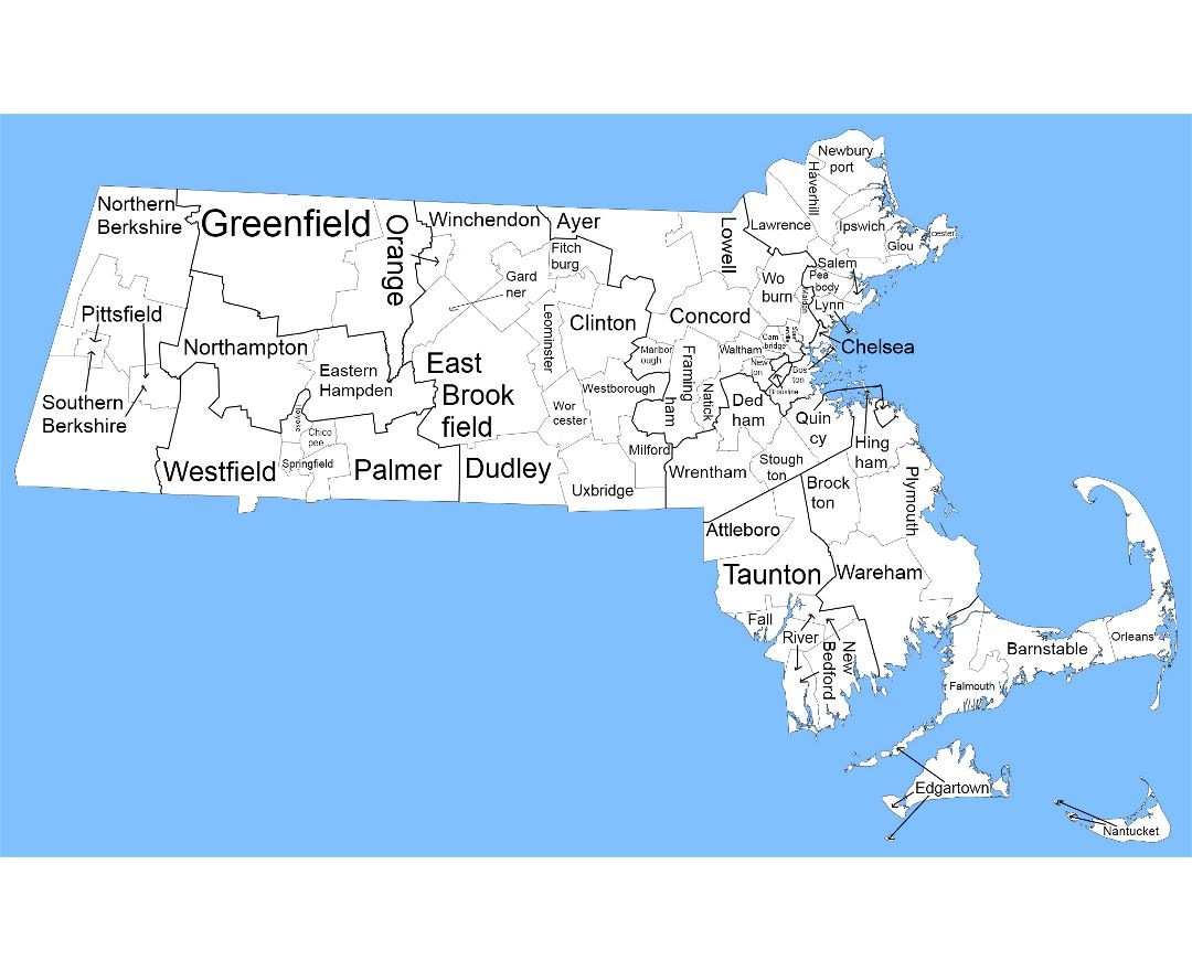 Large administrative map of state of Massachusetts