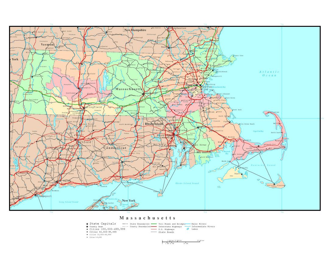 Maps Of Massachusetts State Collection Of Detailed Maps Of - Massachusetts us map