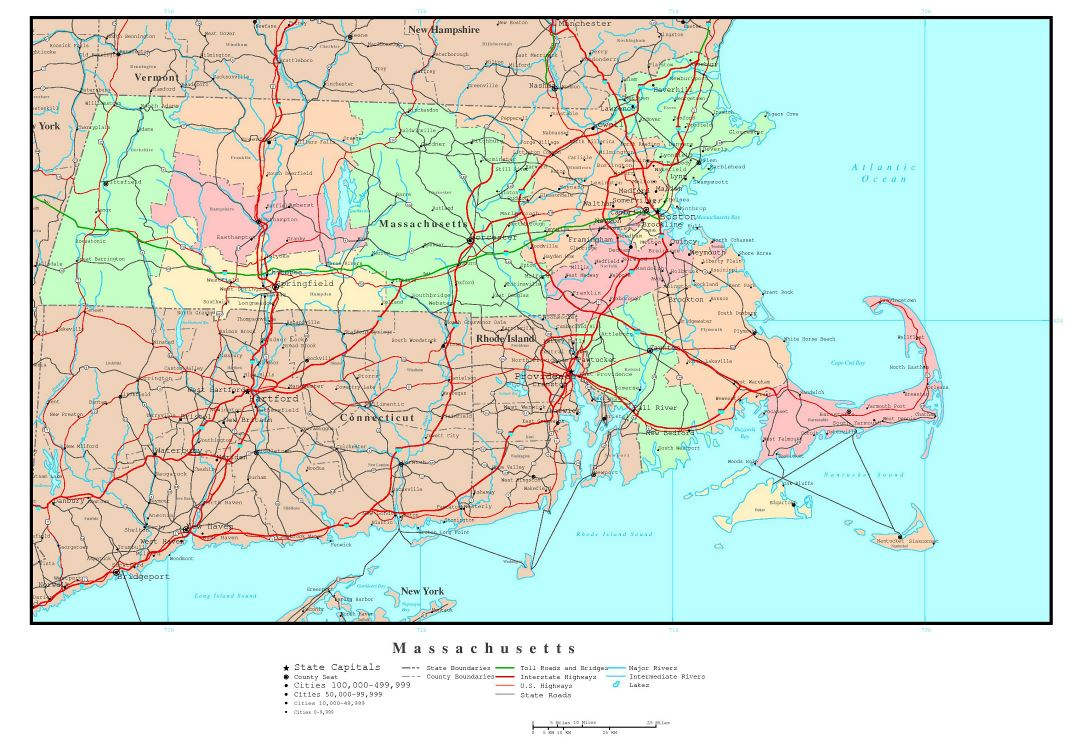 Large detailed administrative map of Massachusetts state with roads, highways and major cities