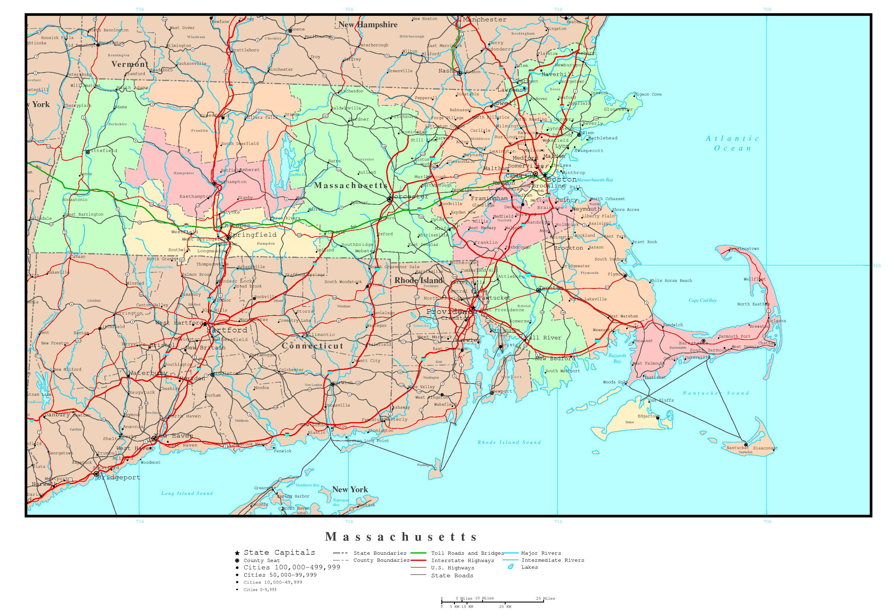 Large detailed administrative map of Massachusetts state with roads