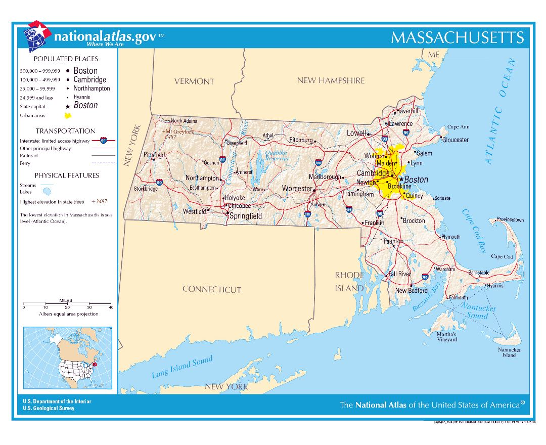 Large detailed map of Massachusetts state