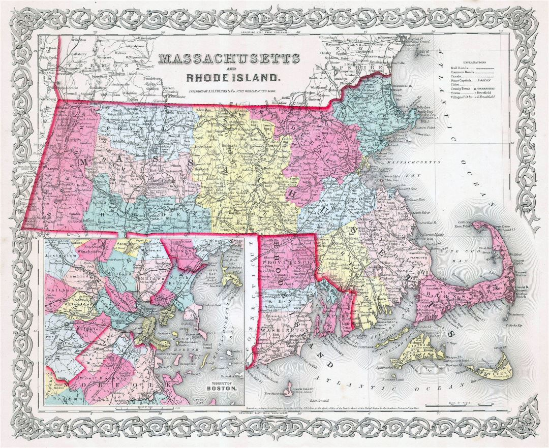 Large detailed old administrative map of Massachusetts and Rhode Island states with roads, railroads and cities - 1855