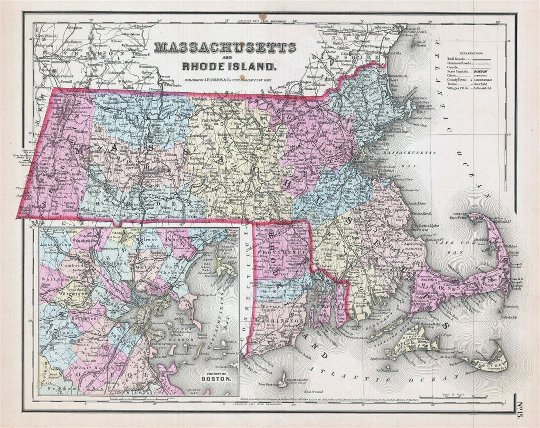 Large detailed old administrative map of Massachusetts and Rhode Island with roads, railroads and cities - 1857