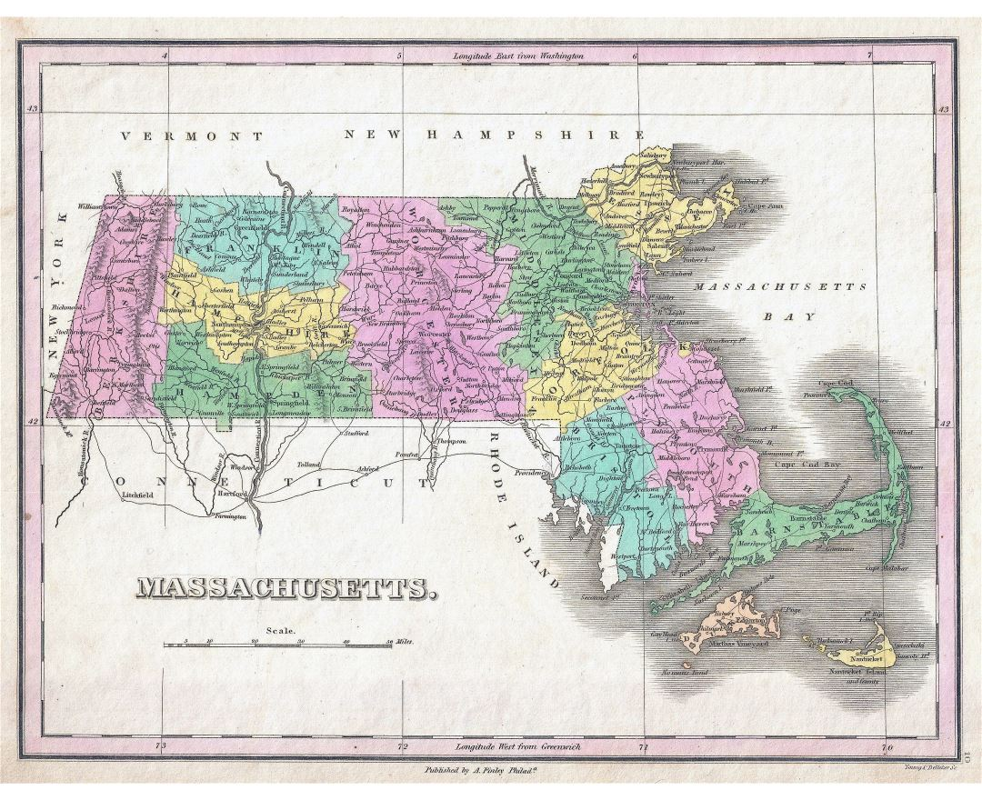 Large detailed old administrative map of Massachusetts state with cities - 1827