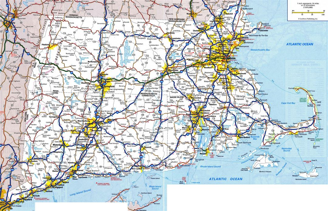 Large detailed roads and highways map of Massachusetts, Connecticut and Rhode Island with all cities and national parks