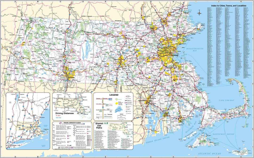Large detailed roads and highways map of Massachusetts state with all cities, airports and national parks