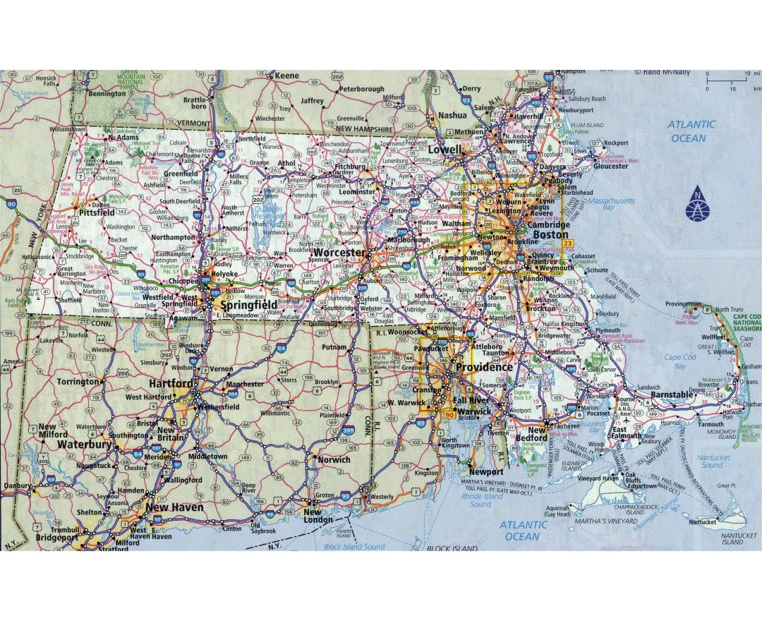 Large detailed roads and highways map of Massachusetts state with all cities
