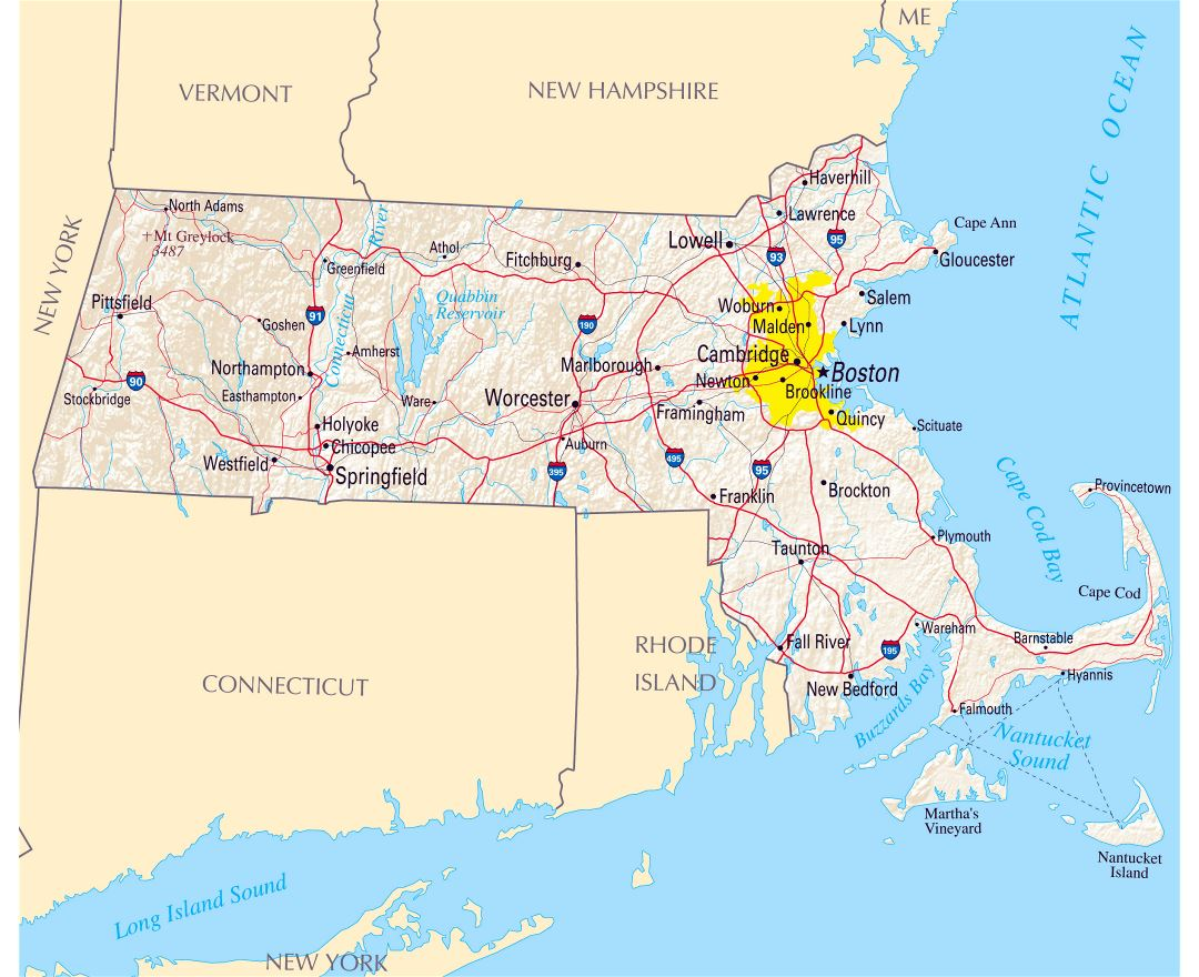 Large map of Massachusetts state with roads, highways, relief and major cities