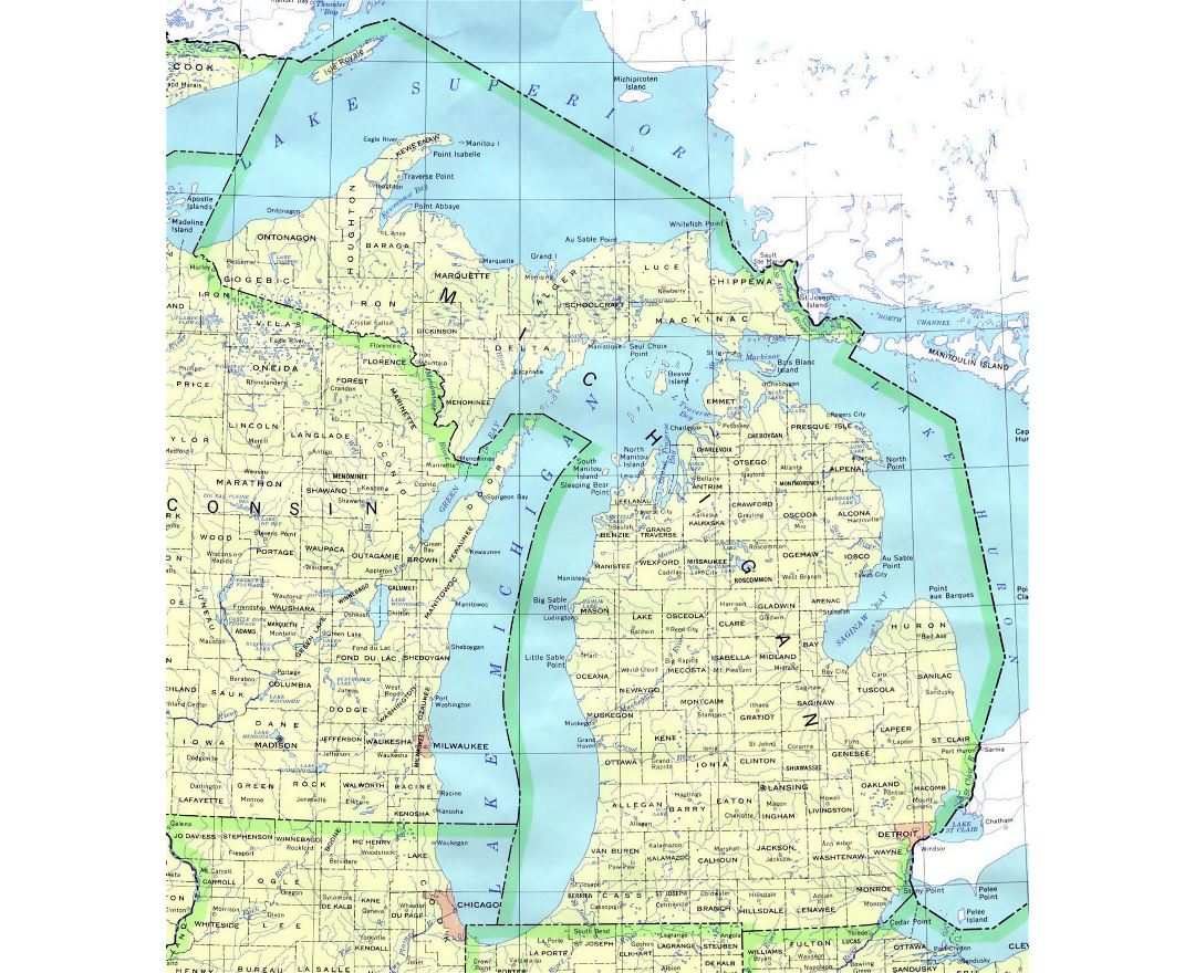 Administrative map of Michigan state