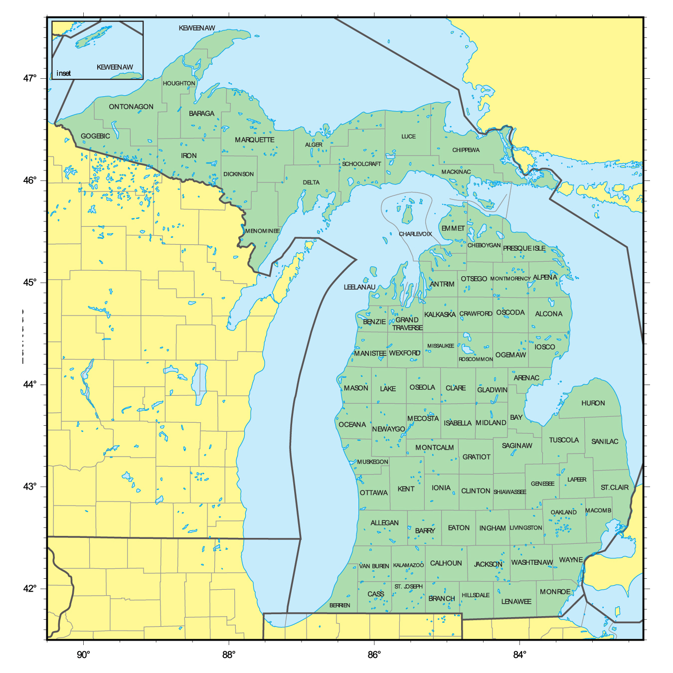 Detailed administrative map of Michigan state Michigan state USA
