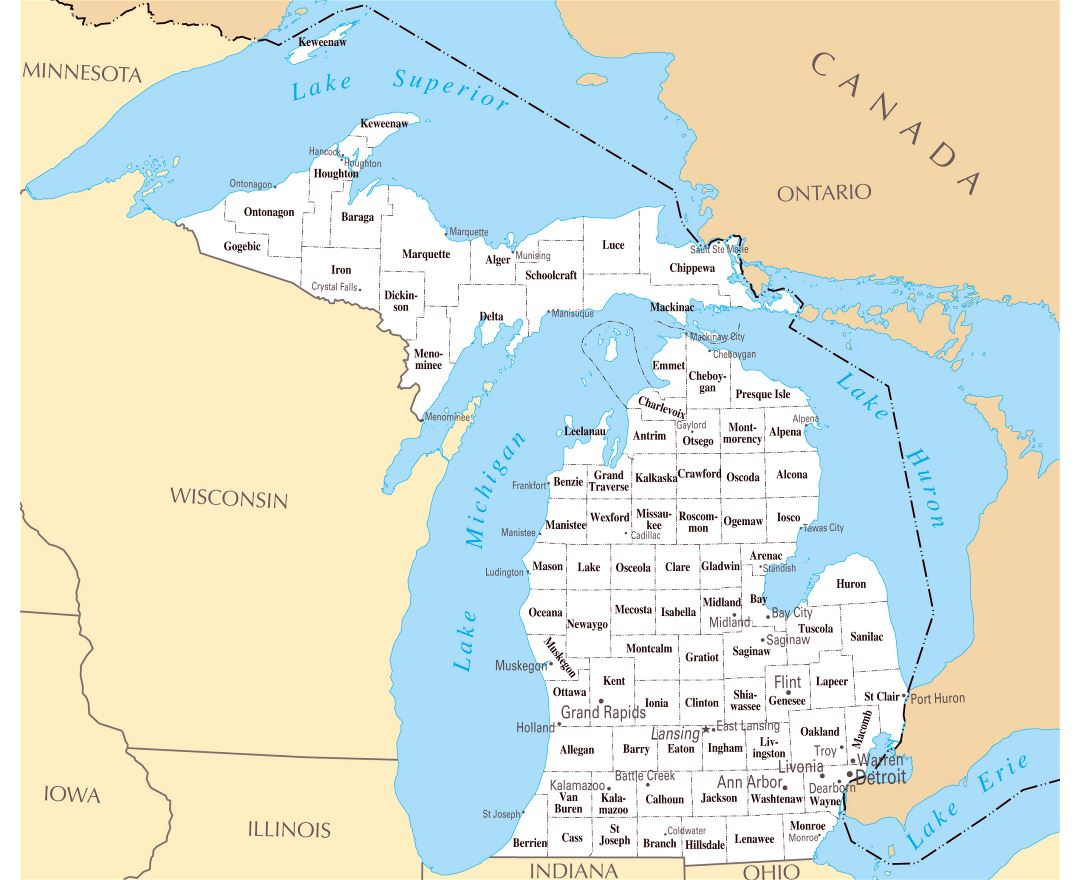 Large administrative map of Michigan state