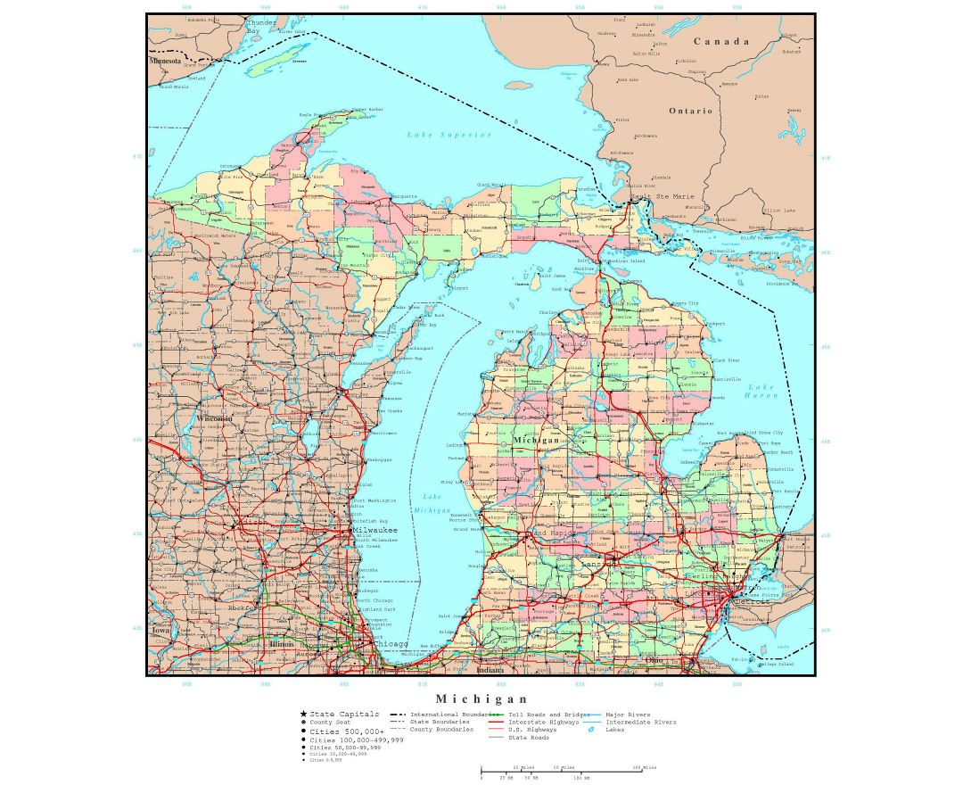 Large detailed administrative map of Michigan state with roads, highways and major cities