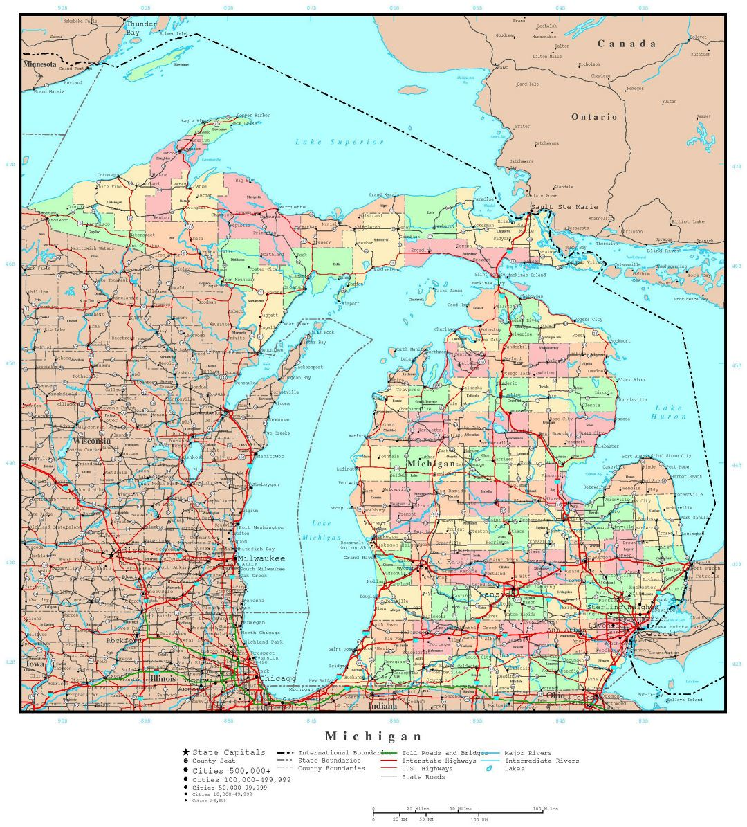 Large Detailed Administrative Map Of Michigan State With Roads - Michigan state usa map