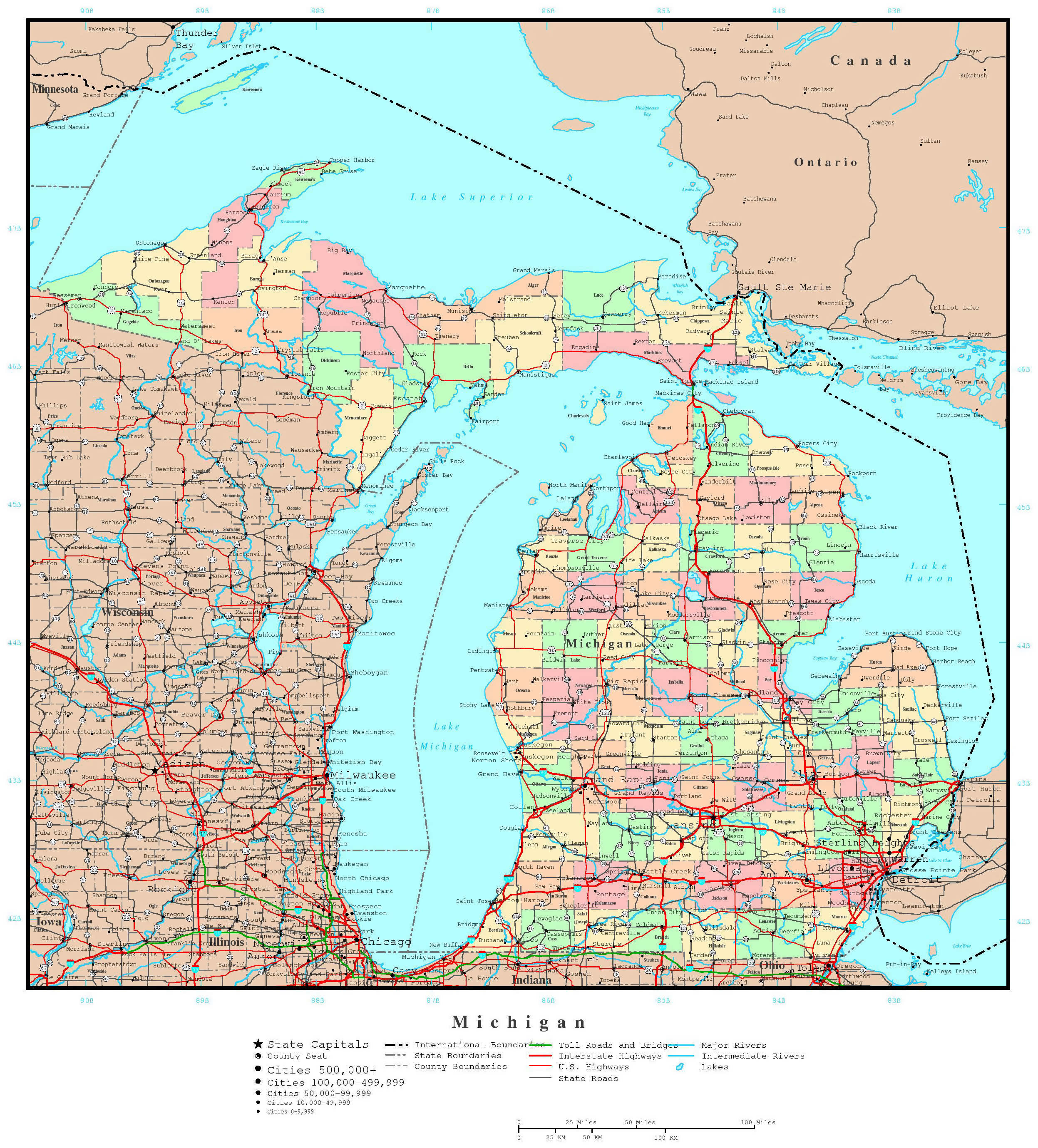 Large detailed administrative map of Michigan state with roads