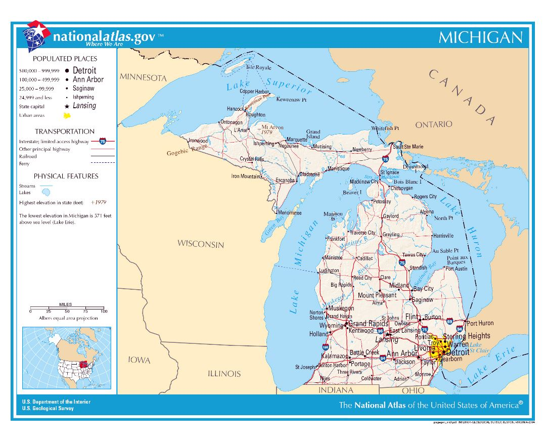 Maps Of Michigan State Collection Of Detailed Maps Of Michigan - Michigan coastline map