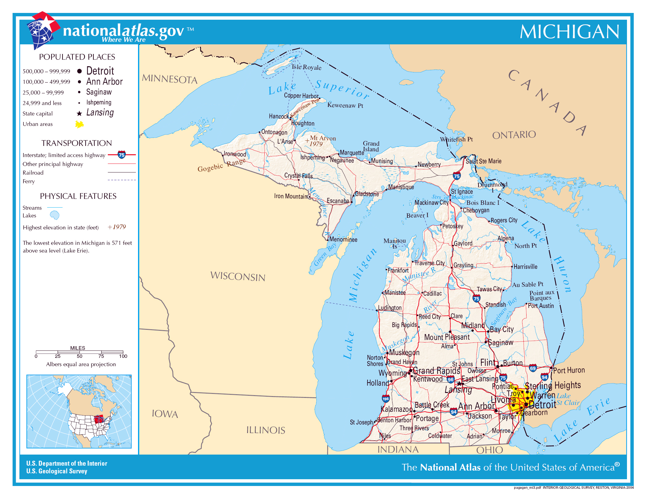 large detailed map of michigan state