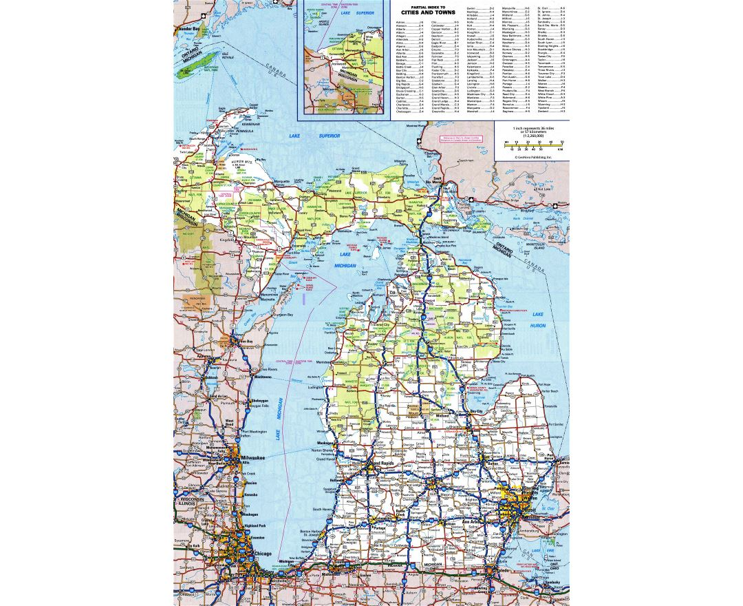 Large detailed roads and highways map of Michigan state with all cities and national parks