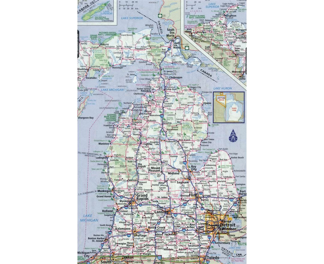 Large detailed roads and highways map of Michigan state with all cities