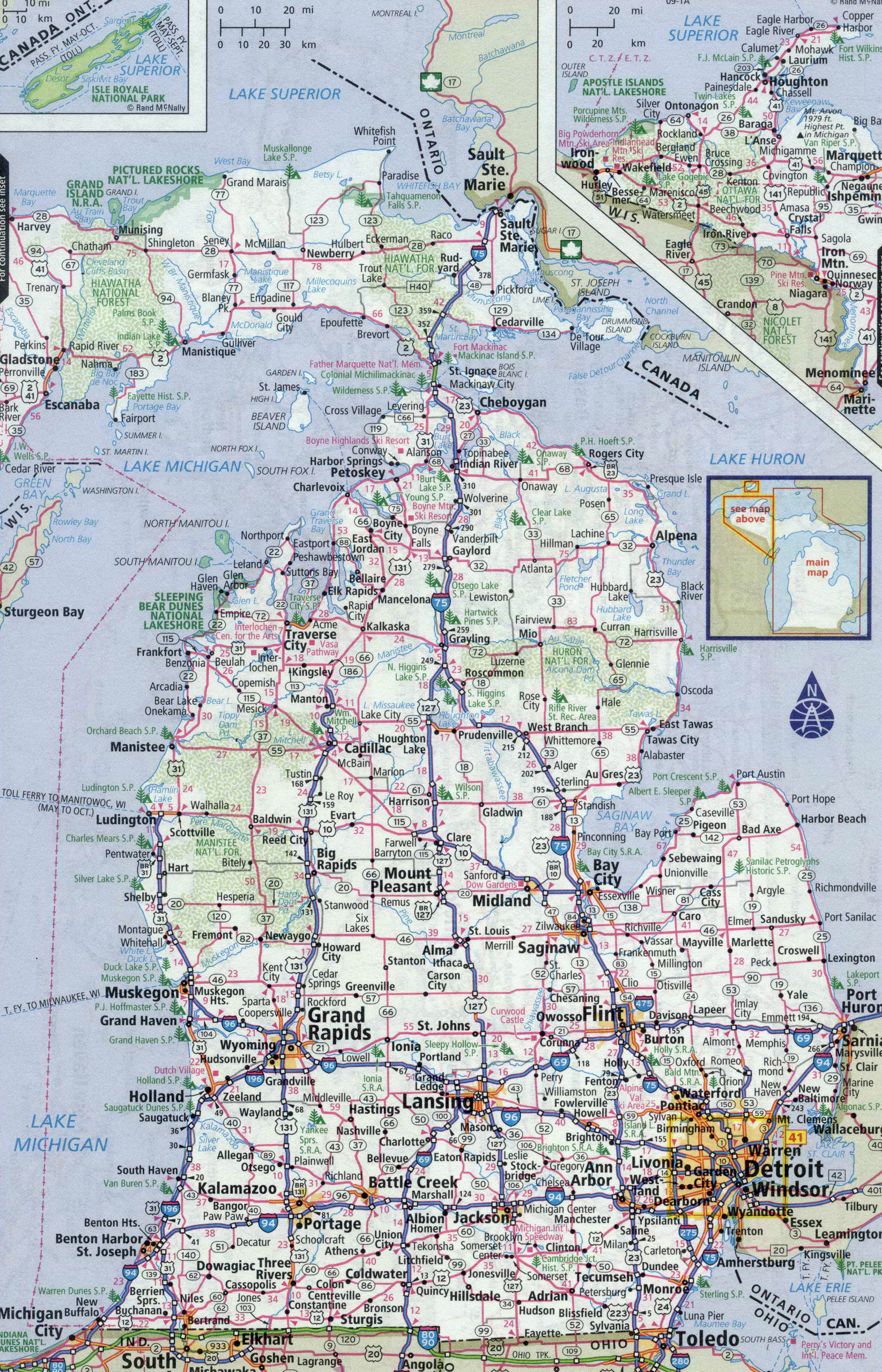 Large Detailed Roads And Highways Map Of Michigan State With All - Us maps with states and cities