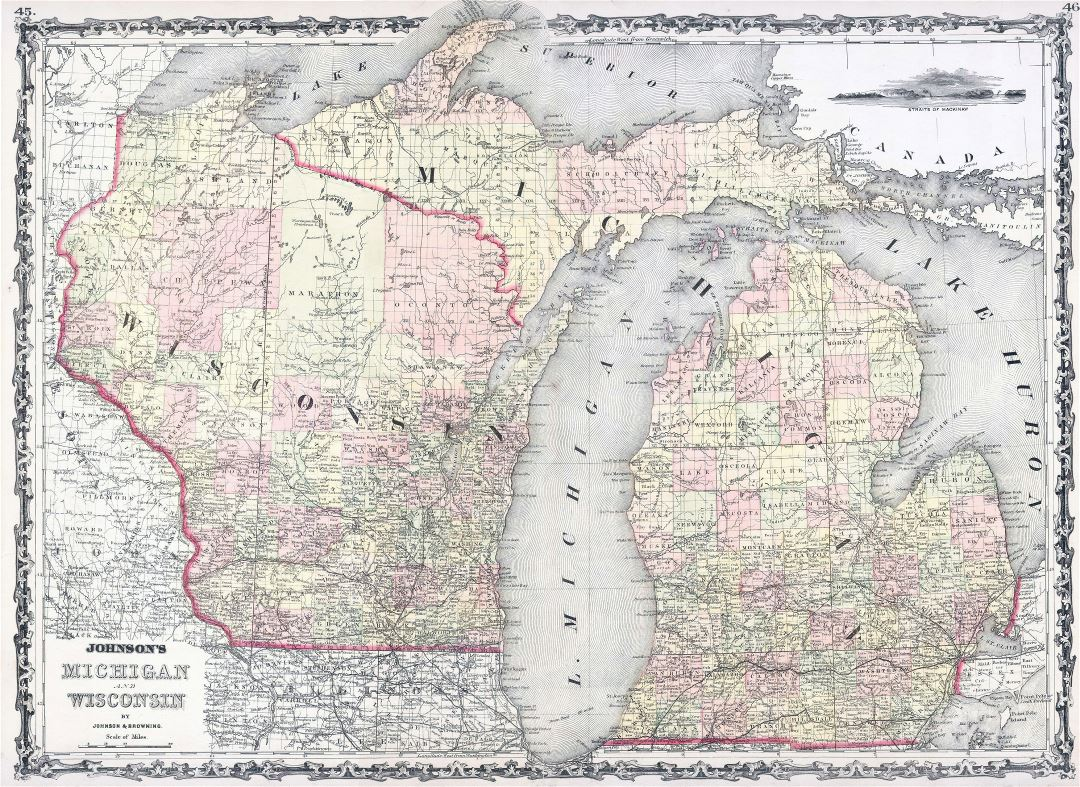 Large old administrative map of Michigan and Wisconsin states