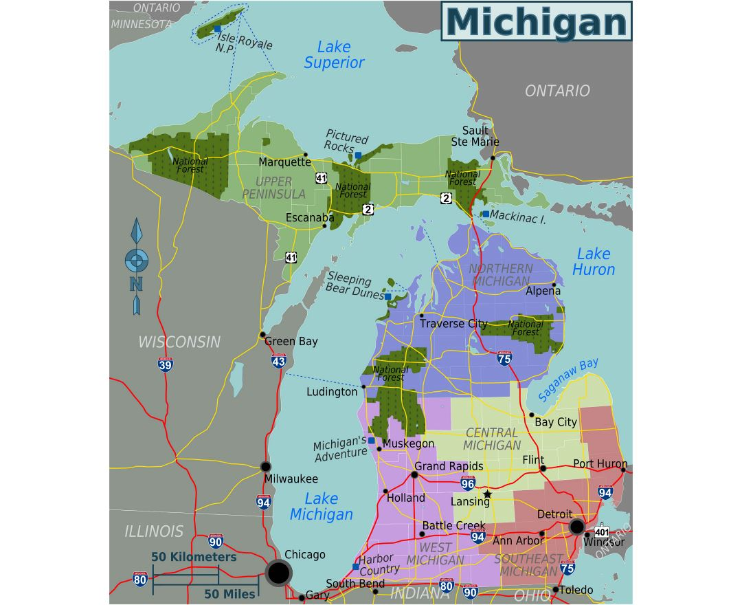 Large regions map of Michigan state