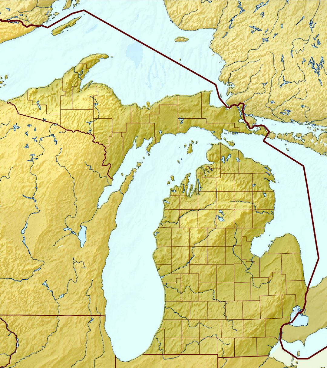 Large relief map of Michigan state