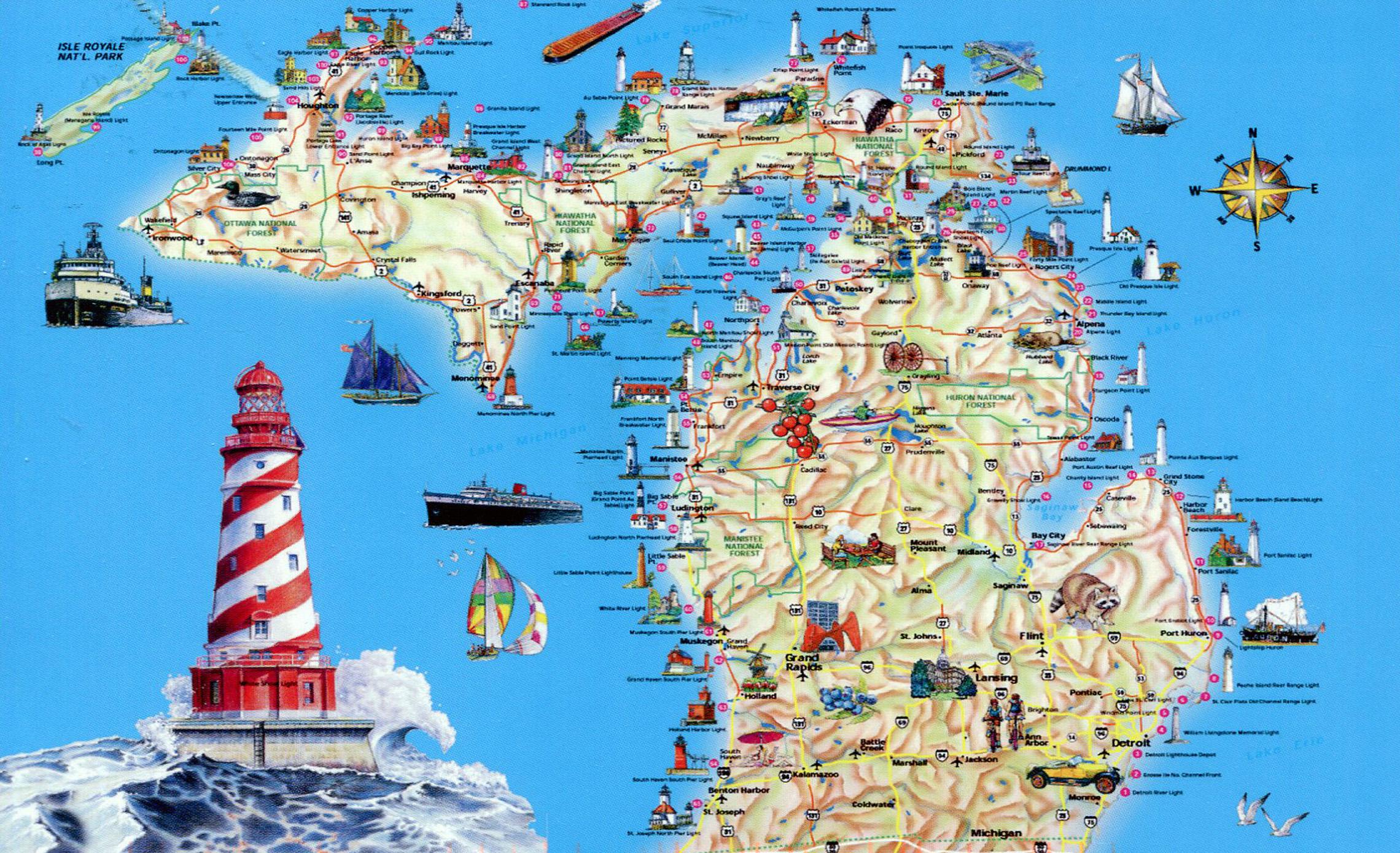 Large tourist map of Michigan state | Michigan state | USA | Maps of ...