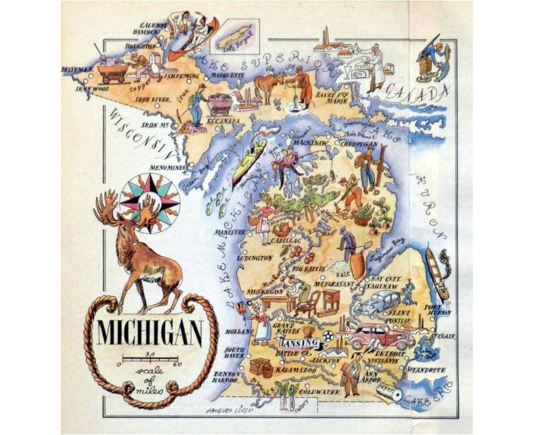 Old illustrated travel map of Michigan state - 1946