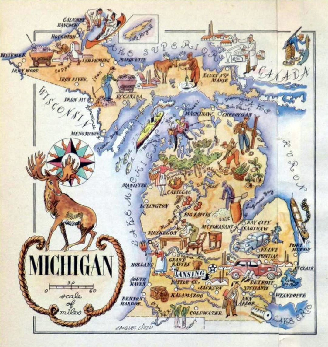 Old Illustrated Travel Map Of Michigan State 1946 Michigan State - Us-map-michigan-state