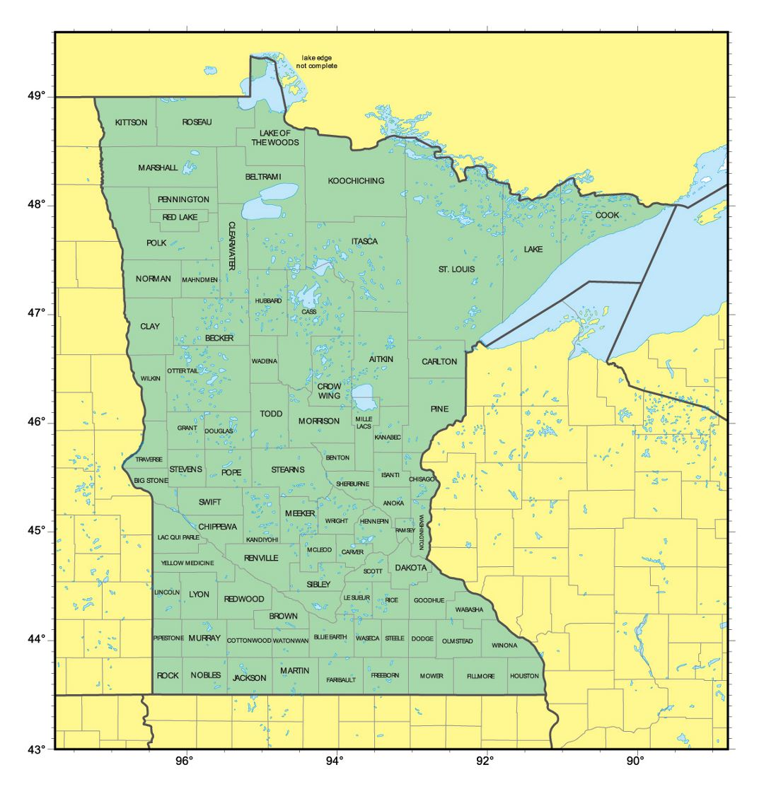 Detailed administrative map of Minnesota state