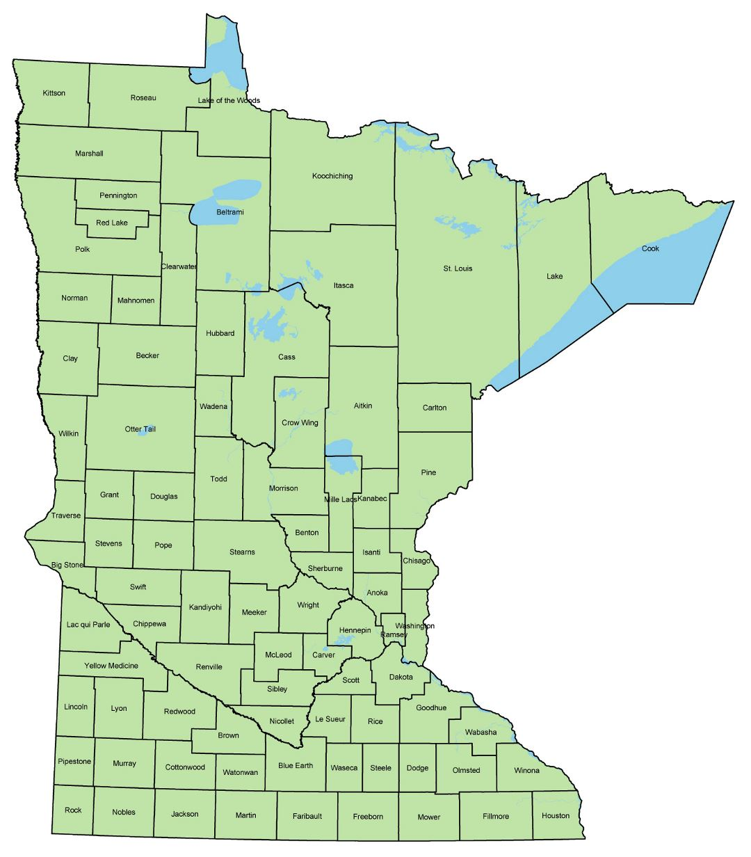 Large administrative map of Minnesota