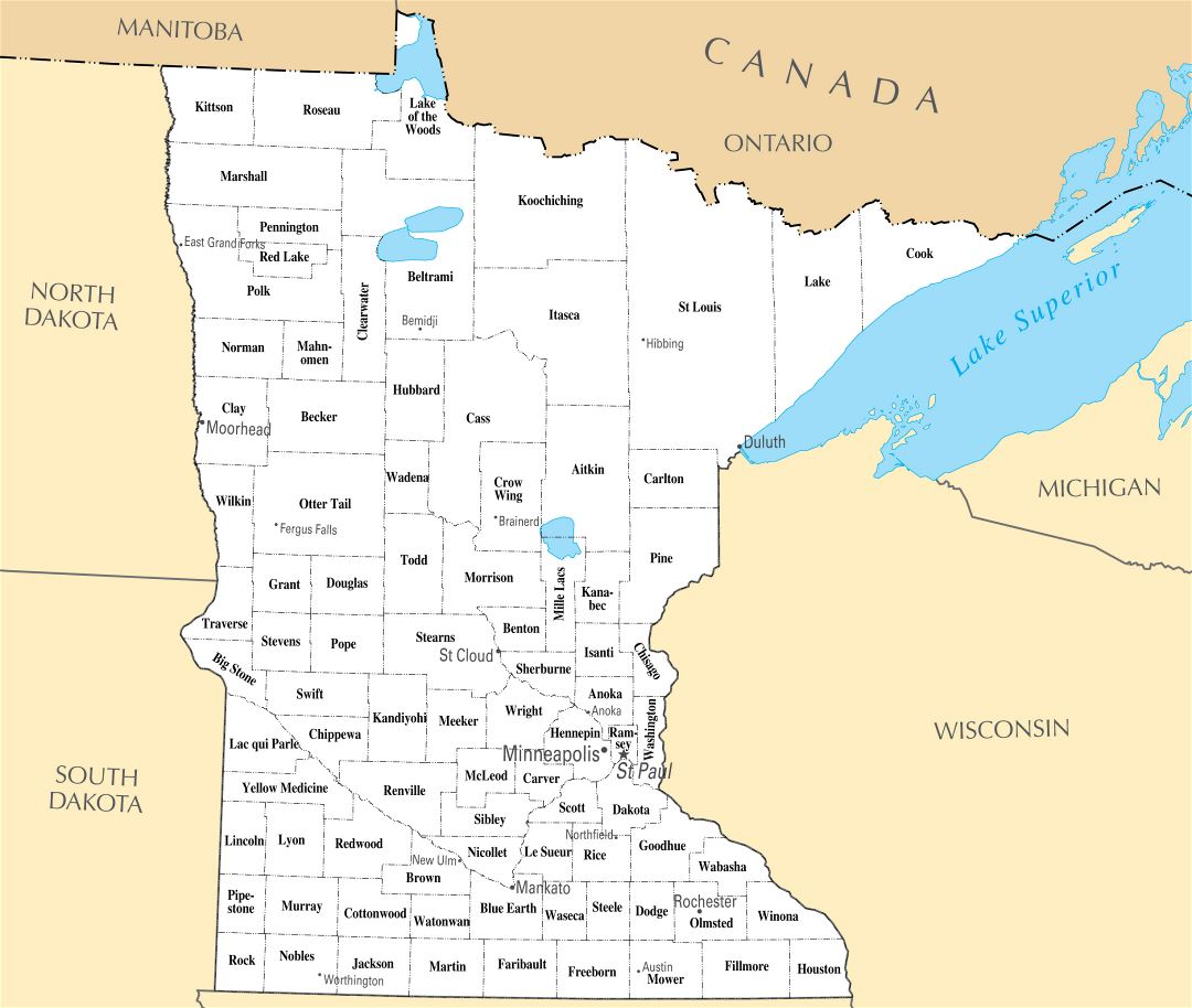 Large administrative map of Minnesota state