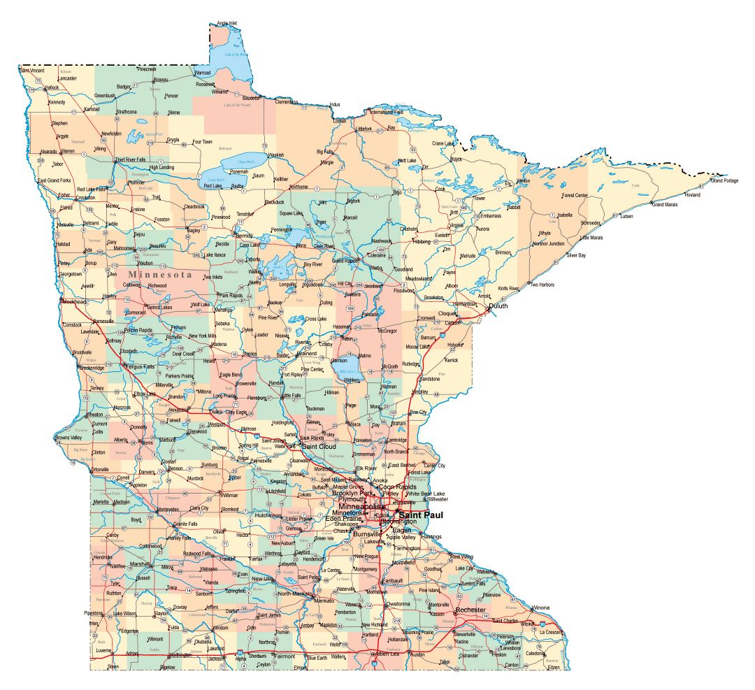 Large administrative map of Minnesota state with roads, highways and cities