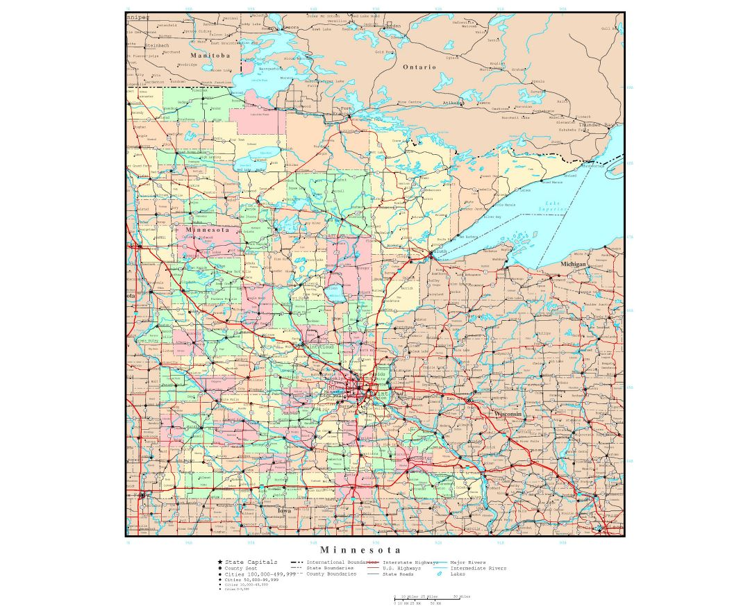 Maps Of Minnesota State Collection Of Detailed Maps Of Minnesota - Map of wisconsin and minnesota