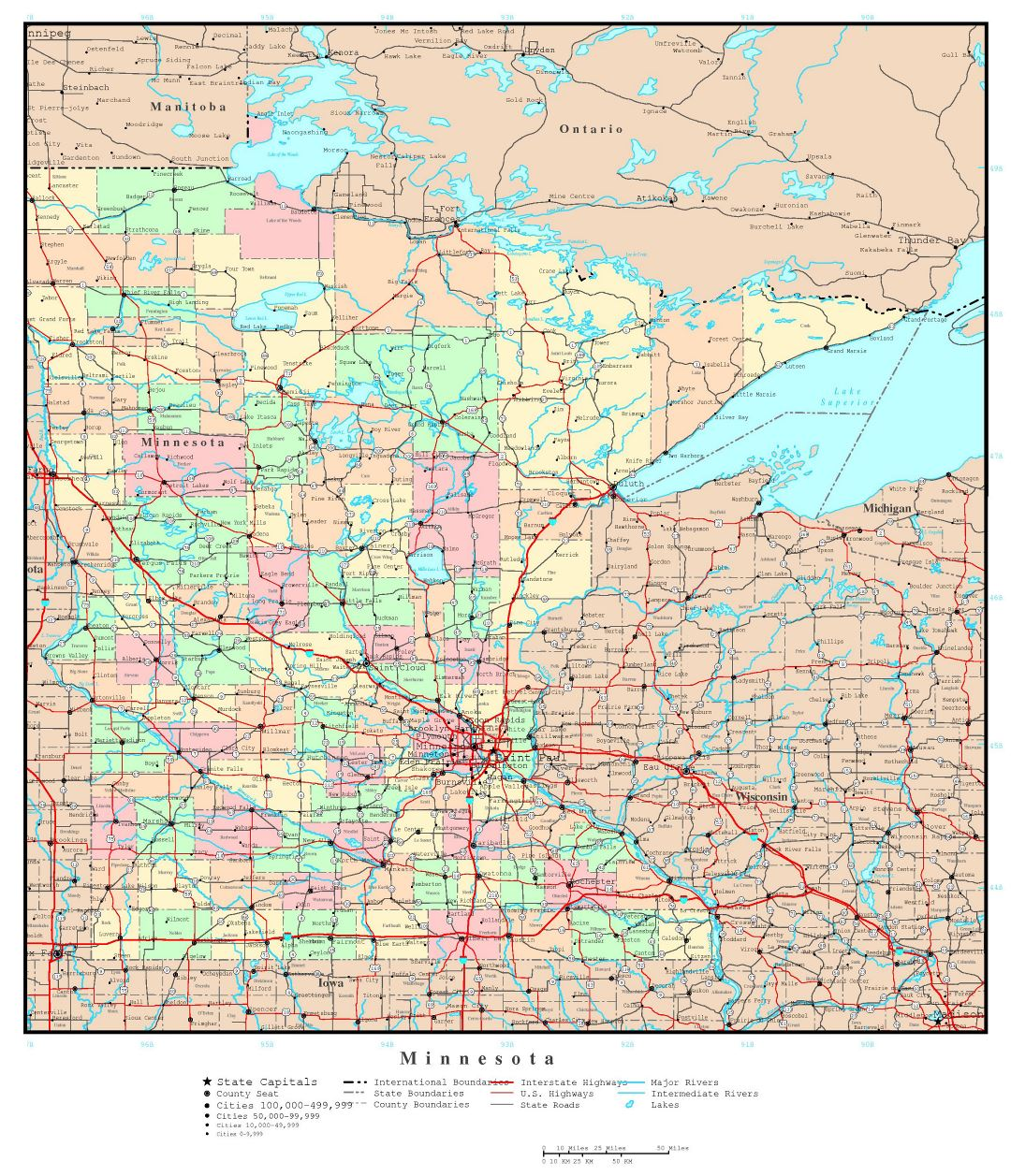 Large detailed administrative map of Minnesota state with roads, highways and major cities