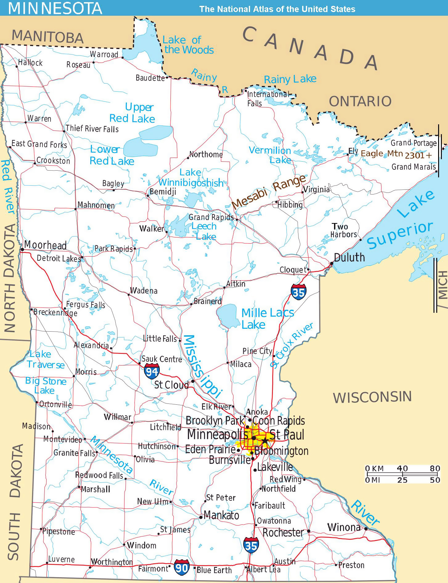 Large detailed map of Minnesota state with roads and major cities ...