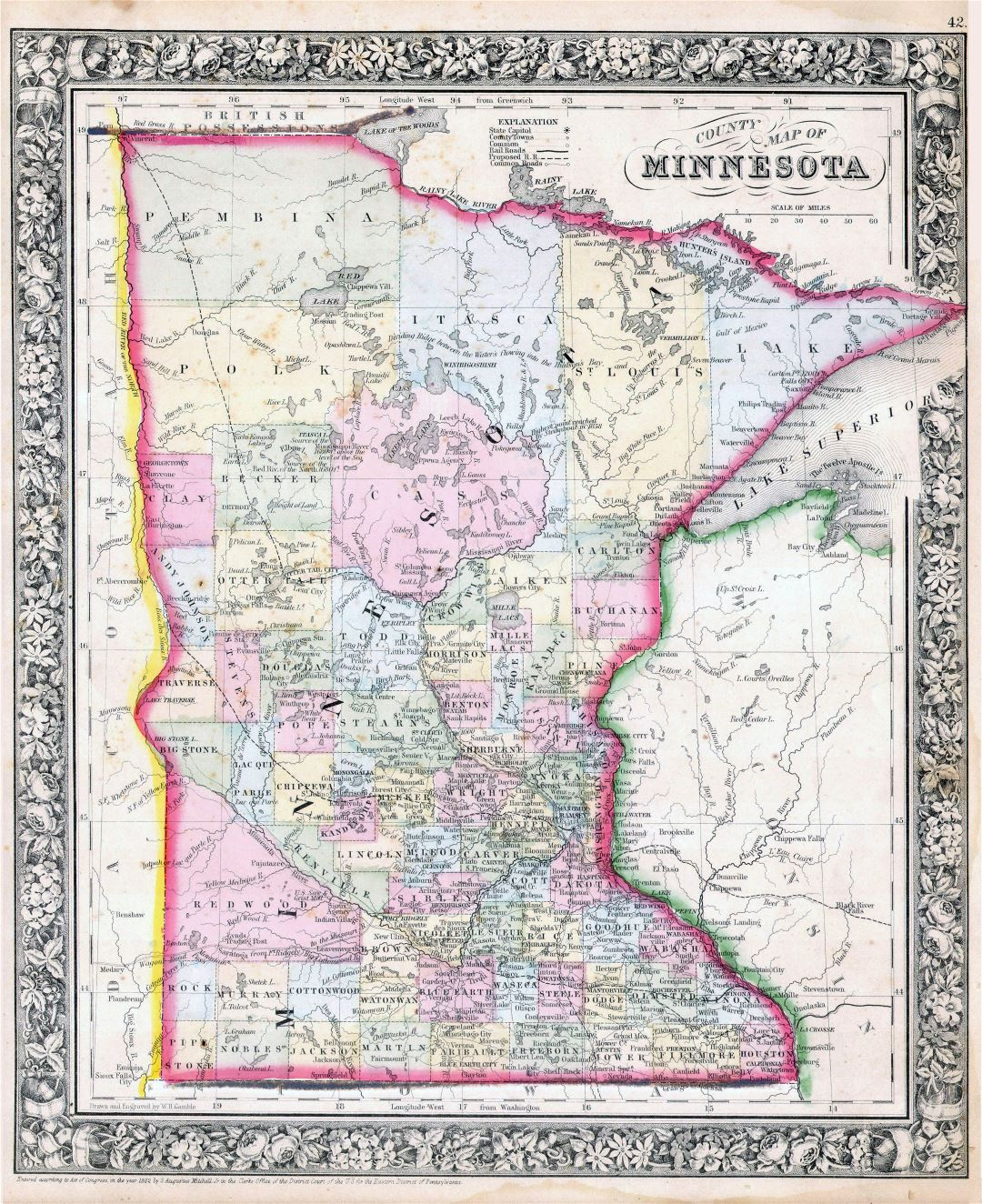 Large detailed old administrative map of Minnesota state with relief, roads, railroads and cities - 1864