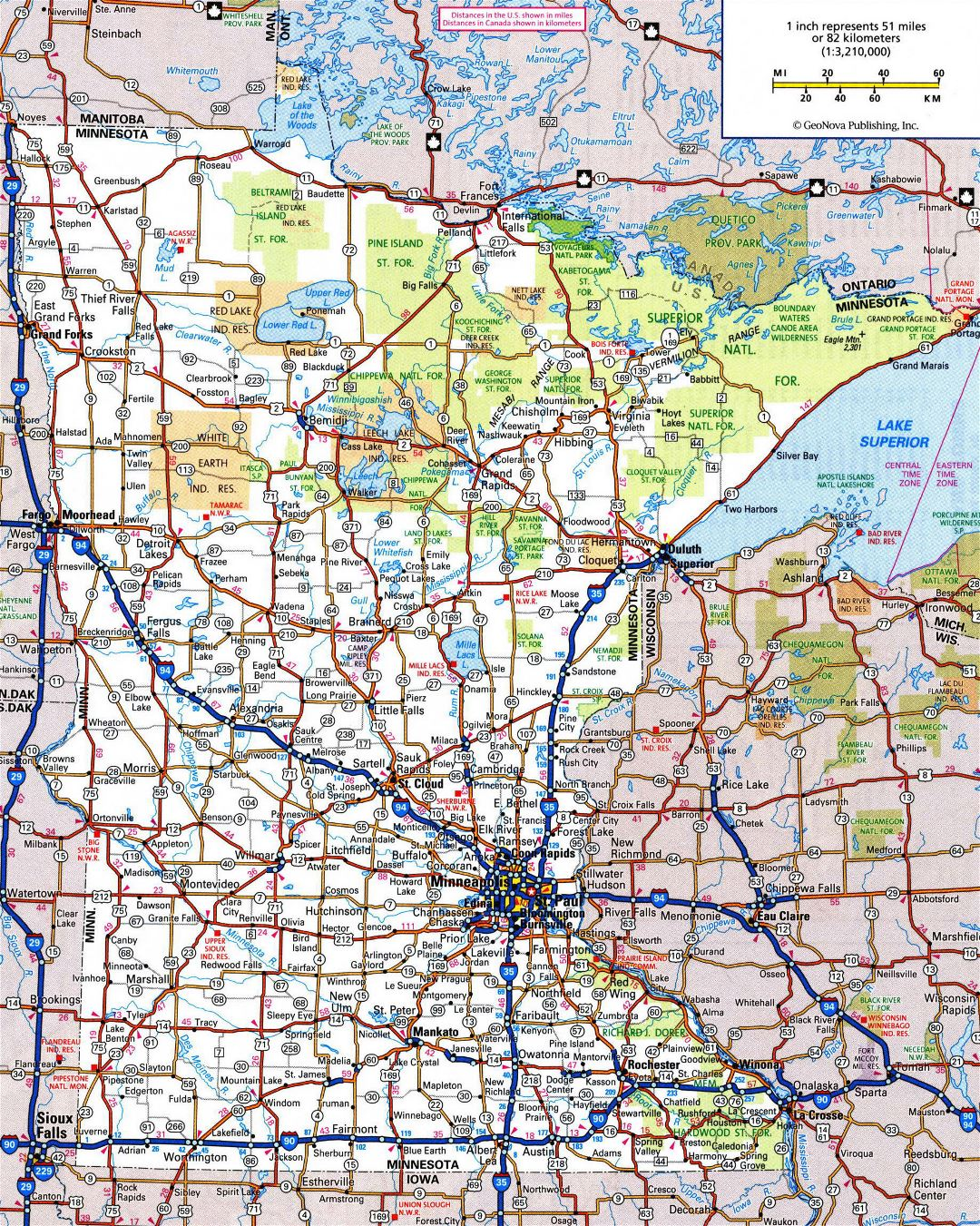 Large detailed roads and highways map of Minnesota state with all cities and national parks
