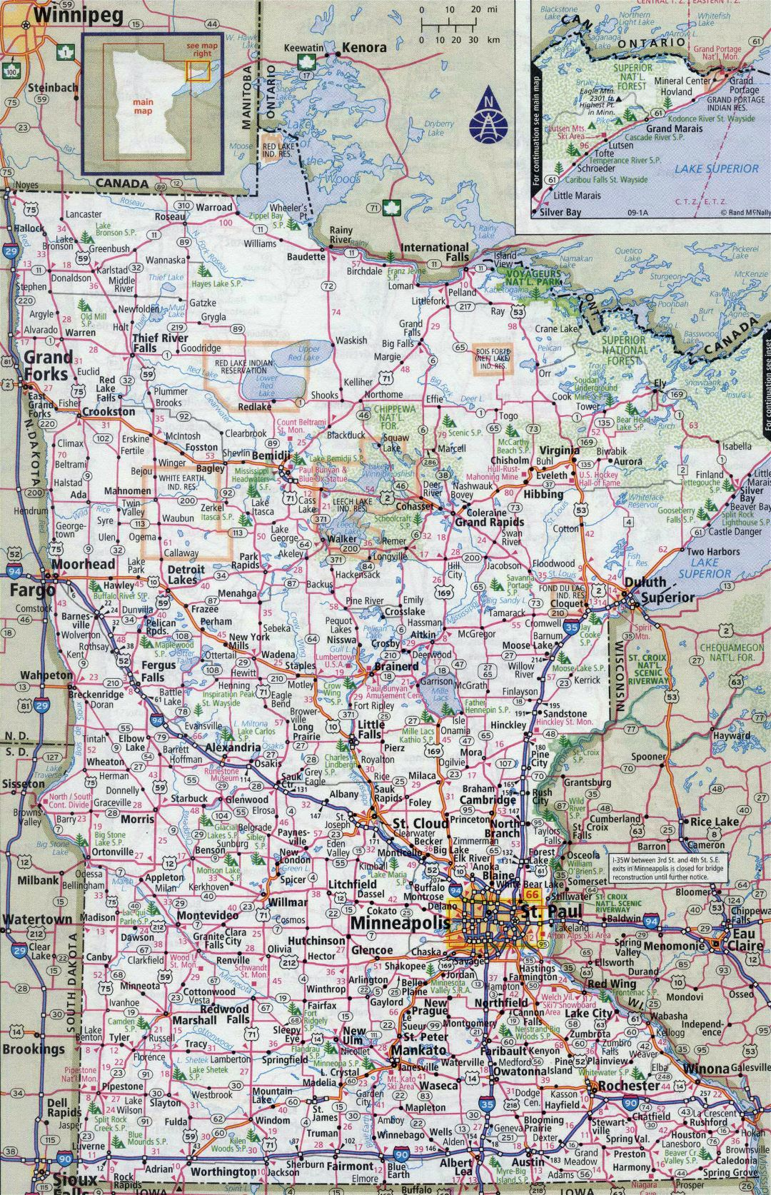 Large detailed roads and highways map of Minnesota state with all cities