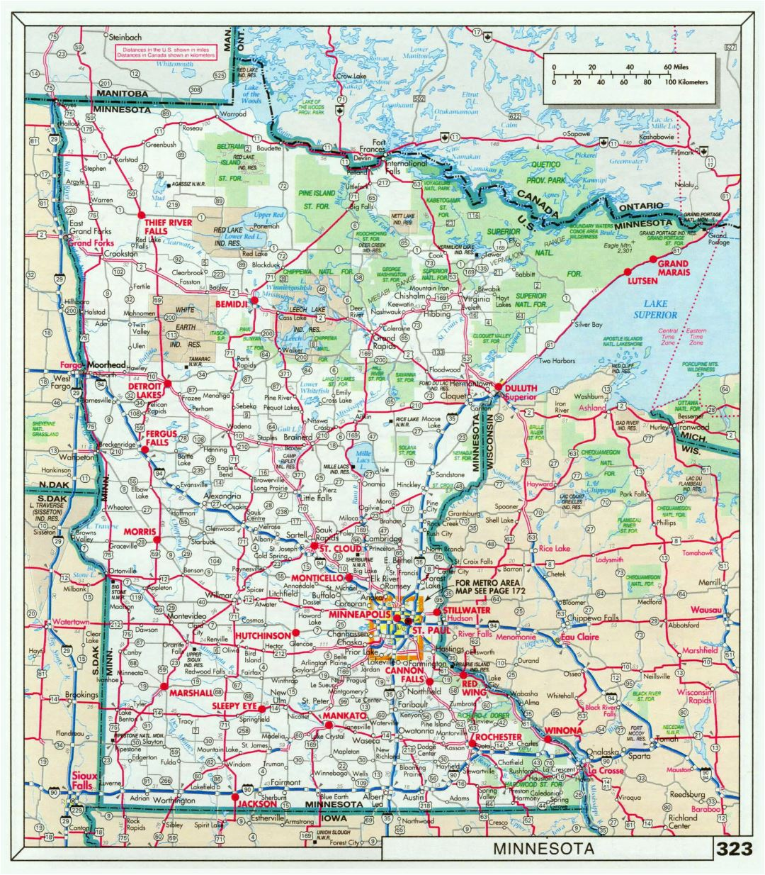 Large detailed roads and highways map of Minnesota state with national parks and cities